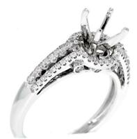 Halo Engagement Ring Setting VS1 Diamond 0.52ct 18k White Gold