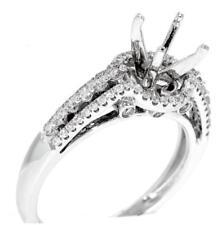 Halo Engagement Ring Setting VS1 Diamond 0.52ct 18k White Gold
