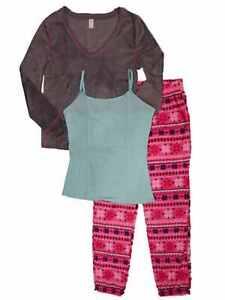 NWT$54 Junior Womens Gray/Pink Snowflake 3 Piece Fleece Pajamas Sleep Set XLARGE