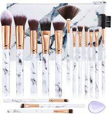 Set de brochas de maquillaje DUAIU 15Pcs Brochas Maquillaje Profesional (Blanco)