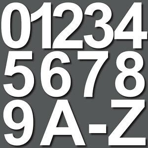 5cm weiß Aufkleber Hausnummer Wunsch Wahl Nr Nummer Zahl Ziffer Buchstabe ABC