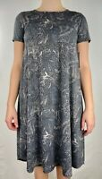 LuLaRoe Women's Carly Dress Gray Floral Stretch Hi Low Short Sleeve XXS New