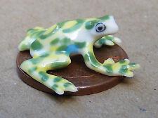 1:12 Scale Green & White Tumdee Dolls House Ceramic Frog Garden Pet Ornament J