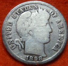 1898 SILVER BARBER DIME 10 CENT NICE COIN