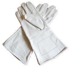 American Civil War ACW Confederate Union Gauntlets Gloves White Leather Medium