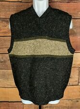 Abercrombie Fitch~XL~Shetland Wool Sweater Vest Striped V-Neck Gray Brown