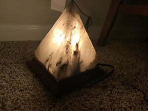"Hand-cut Pure Natural Organic Himalayan salt Lamp Crafted Pyramid 5X5X6"" Grey"