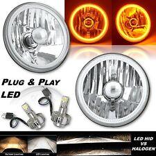 5-3/4 Amber COB LED Halo Angel Eye Crystal Clear Headlamp 6k LED Light Bulb Pair