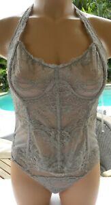 Victorias Secret bra set halter corset thong taupe retro lace M fancy boned