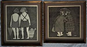 Vintage '72 Sisters in Winter & in Summer Art Print Artist Y Davis Black & White