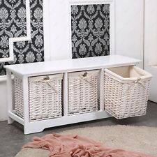 Dakavia 3 Drawer Wood White Shabby Chic Cupboard Cabinet Table w/ Wicker New
