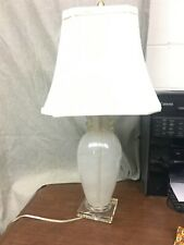 Venetian Murano Style Glass Table Lamp White Swirl w/Clear Base.