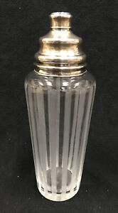 """ART DECO HAWKES FROST PINSTRIPE CRYSTAL COCKTAIL SHAKER 12.5""""H STERLING  LID"""