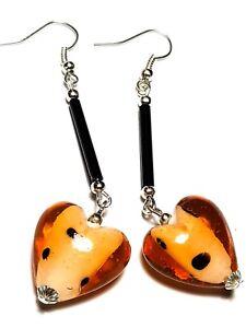 Long Orange Silver Heart Earrings Glass Bead Drop Dangle Gypsy Hippy Retro Chic