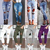 Femmes déchiré Skinny Jeans extensible taille haute slim fit jeans pantalon