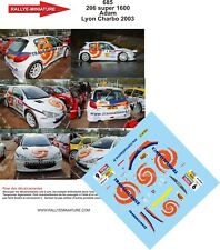 DECALS 1/24 REF 685 PEUGEOT 206 S1600 ADAM RALLYE LYON CHARBONNIERES 2003 RALLY