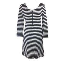 J.Crew Dress M Med White Navy Blue Stripe Zip Front Long Sl Tee Stretch Nautical