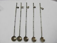 """JAPAN STERLING 950 VINTAGE 5 STIRRERS / SIPPERS DANGLE CHARMS 8 ¾"""" V GOOD COND"""