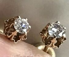 FINE 14K GOLD and DIAMOND SCREW BACK POST Earrings
