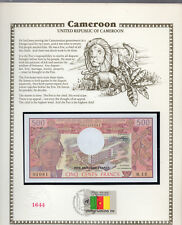 Cameroon Cameroun 500 Franc 1983 P 15d UNC w/FDI UN FLAG STAMP  Prefix M.13