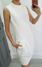Karen Millen white high neck sleeveless dress with pockets tulip skirt size UK 8