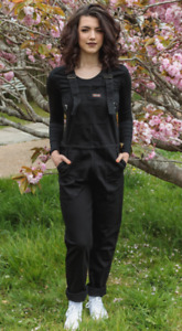 Run & Fly women's  BLACK BAGGY FIT STRETCH DENIM DUNGAREES