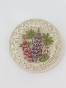 WATERSMEET STUDIOS 3D WALL PLAQUE COUNTRYSIDE Lupin Flower Ceramic Picture