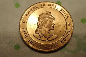 Vintage Door to Door Salesman Token Coin Vintage Advertising 8 Magic Words