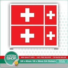 4 x SWISS / SWITZERLAND FLAG VINYL CAR VAN IPAD LAPTOP STICKER