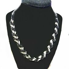"Handmade Black and Silver ""Shell"" Spiral Beaded Necklace and Bracelet"