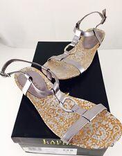 Women's Ralph Lauren KAROL Silver Leather Gladiator Sandals- Size 8.5