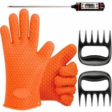 BBQ Gloves Accesories Set Grill BBQ Gloves Digital Thermometer & Meat Claws Set