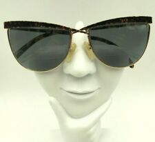 Vintage Euroline Exclusive Maria 4 Brown Gold Metal Cat Eye Sunglasses Italy