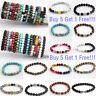Women Men Fashion Stone Beads Buddha Lion Elastic Bracelet Jewellery 18/19/20CM