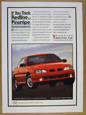 1996 Pontiac Grand Am GT Sport Coupe red car photo vintage print Ad
