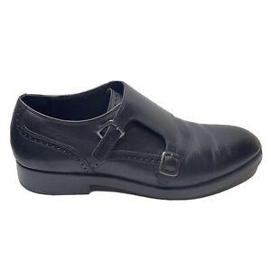Cole Hann Harrison Grand Double Monk Oxford Shoes Mens Size 9 1/2 9.5 Black Leat