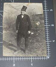 Dandy Man Top Hat Suit 1918 Handsome Guy Tuxedo Vintage Snapshot PHOTO