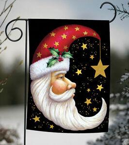 Toland Santa Moon 12.5 x 18 Winter Christmas Holly Star Black Garden Flag