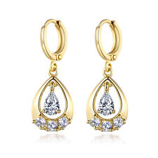 Dangle Pear Drop Diamond Sapphire Yellow Gold Filled Lady Wedding Party Earrings