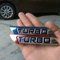 3D Car Body Fender Metal Turbo Emblem Logo Badge Car Decal Sticker Accessories