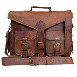 Herren Umhängetasche Medium Aktentasche Echtes Braun Leder Laptop Büro Geschäft