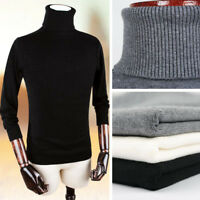 Men's Knitted Turtle Neck Pullover Sweater Jumper Casual Slim Knitting Tops new