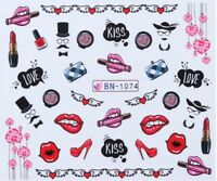 Nail Art Water Decals Stickers Transfers Valentines Lips Heels Love U (BN1074)