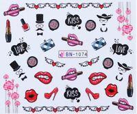 Nail Art Water Decals Stickers Transfers Valentines Lips Heels Love U (BN1074)