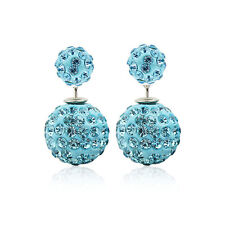 Fashion Jewelry Colorful Double Sided Crystal Beads Two Ball Ear Stud Earrings