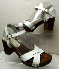 River Island Ladies White Leather Wooden Heel Clog Sandals UK 6.5 EUR 39- C502