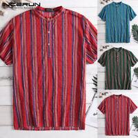Vintage Striped Mens Grandad Shirt Kurta Collar Collarless Short Sleeve Cotton