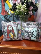 Nightmare before Christmas Throw Pillow set Jack and Sally stained glass