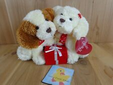 """RBI Goldie & Gil PUPPY DOG COUPLE WITH GIFT BOX 9"""" Plush Brown White Valentine"""