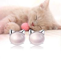 Fashionable Freshwater Head Sterling A4206 Stud Earrings Cat Pearl 925 Silver